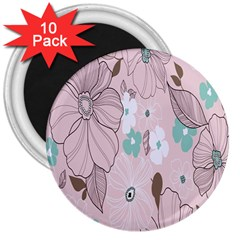 Background Texture Flowers Leaves Buds 3  Magnets (10 pack)