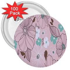 Background Texture Flowers Leaves Buds 3  Buttons (100 pack)
