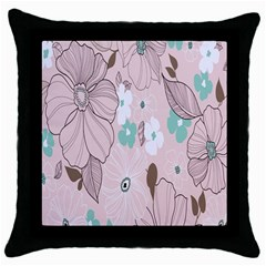 Background Texture Flowers Leaves Buds Throw Pillow Case (black)