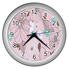 Background Texture Flowers Leaves Buds Wall Clocks (silver)