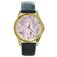 Background Texture Flowers Leaves Buds Round Gold Metal Watch