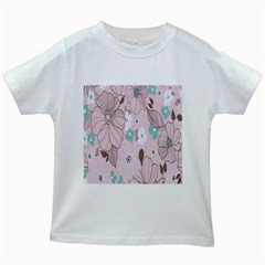 Background Texture Flowers Leaves Buds Kids White T-Shirts