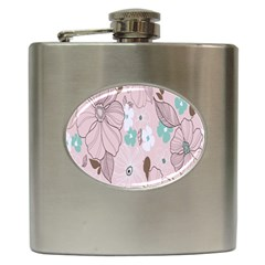 Background Texture Flowers Leaves Buds Hip Flask (6 oz)