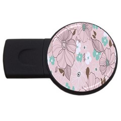 Background Texture Flowers Leaves Buds USB Flash Drive Round (1 GB)
