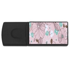 Background Texture Flowers Leaves Buds USB Flash Drive Rectangular (1 GB)