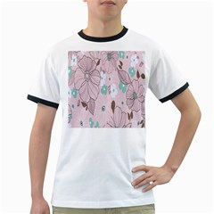Background Texture Flowers Leaves Buds Ringer T Shirts