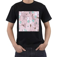 Background Texture Flowers Leaves Buds Men s T-Shirt (Black) (Two Sided)