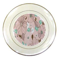 Background Texture Flowers Leaves Buds Porcelain Plates