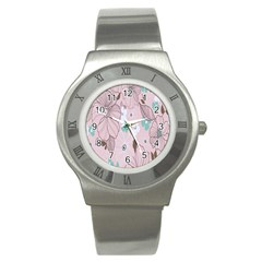 Background Texture Flowers Leaves Buds Stainless Steel Watch