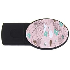 Background Texture Flowers Leaves Buds Usb Flash Drive Oval (4 Gb)