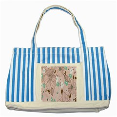 Background Texture Flowers Leaves Buds Striped Blue Tote Bag