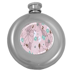 Background Texture Flowers Leaves Buds Round Hip Flask (5 oz)