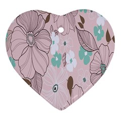 Background Texture Flowers Leaves Buds Heart Ornament (Two Sides)