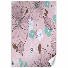 Background Texture Flowers Leaves Buds Canvas 12  x 18