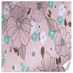 Background Texture Flowers Leaves Buds Canvas 20  X 20