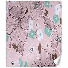 Background Texture Flowers Leaves Buds Canvas 20  X 24