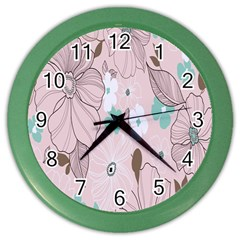 Background Texture Flowers Leaves Buds Color Wall Clocks