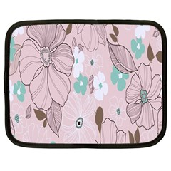 Background Texture Flowers Leaves Buds Netbook Case (Large)
