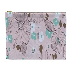 Background Texture Flowers Leaves Buds Cosmetic Bag (XL)