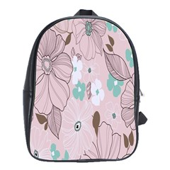 Background Texture Flowers Leaves Buds School Bags(Large)