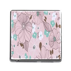 Background Texture Flowers Leaves Buds Memory Card Reader (Square)