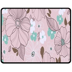 Background Texture Flowers Leaves Buds Fleece Blanket (medium)