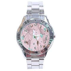 Background Texture Flowers Leaves Buds Stainless Steel Analogue Watch