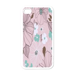 Background Texture Flowers Leaves Buds Apple iPhone 4 Case (White)