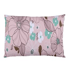 Background Texture Flowers Leaves Buds Pillow Case (Two Sides)