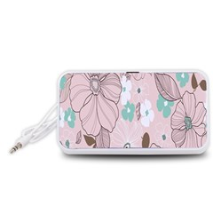 Background Texture Flowers Leaves Buds Portable Speaker (White)