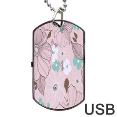 Background Texture Flowers Leaves Buds Dog Tag USB Flash (Two Sides)