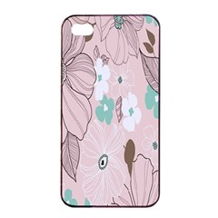 Background Texture Flowers Leaves Buds Apple iPhone 4/4s Seamless Case (Black)