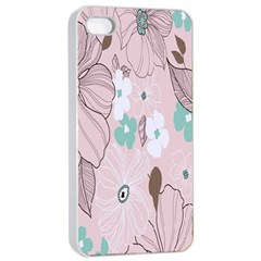 Background Texture Flowers Leaves Buds Apple iPhone 4/4s Seamless Case (White)