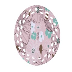 Background Texture Flowers Leaves Buds Ornament (Oval Filigree)
