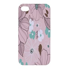 Background Texture Flowers Leaves Buds Apple iPhone 4/4S Premium Hardshell Case
