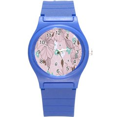Background Texture Flowers Leaves Buds Round Plastic Sport Watch (S)