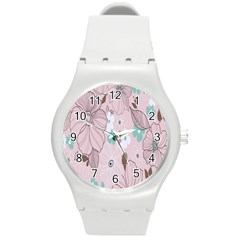 Background Texture Flowers Leaves Buds Round Plastic Sport Watch (m)