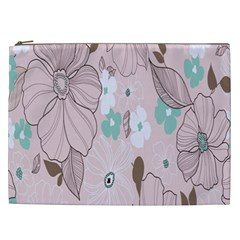 Background Texture Flowers Leaves Buds Cosmetic Bag (XXL)