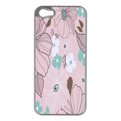 Background Texture Flowers Leaves Buds Apple iPhone 5 Case (Silver)