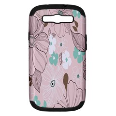Background Texture Flowers Leaves Buds Samsung Galaxy S III Hardshell Case (PC+Silicone)