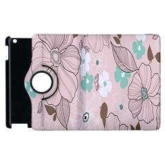 Background Texture Flowers Leaves Buds Apple iPad 2 Flip 360 Case