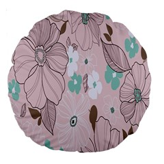 Background Texture Flowers Leaves Buds Large 18  Premium Round Cushions