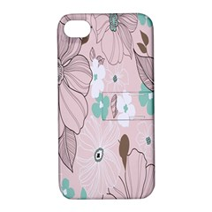 Background Texture Flowers Leaves Buds Apple iPhone 4/4S Hardshell Case with Stand