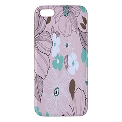 Background Texture Flowers Leaves Buds Apple iPhone 5 Premium Hardshell Case