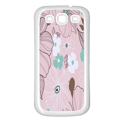 Background Texture Flowers Leaves Buds Samsung Galaxy S3 Back Case (White)