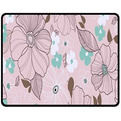 Background Texture Flowers Leaves Buds Double Sided Fleece Blanket (Medium)