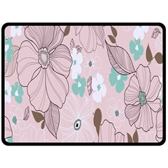 Background Texture Flowers Leaves Buds Double Sided Fleece Blanket (Large)