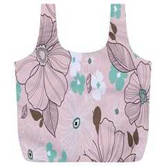 Background Texture Flowers Leaves Buds Full Print Recycle Bags (L)