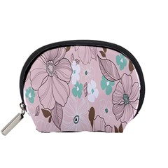 Background Texture Flowers Leaves Buds Accessory Pouches (Small)