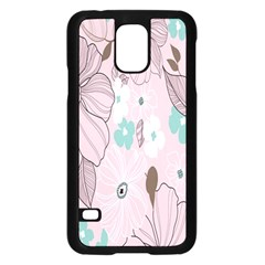 Background Texture Flowers Leaves Buds Samsung Galaxy S5 Case (Black)